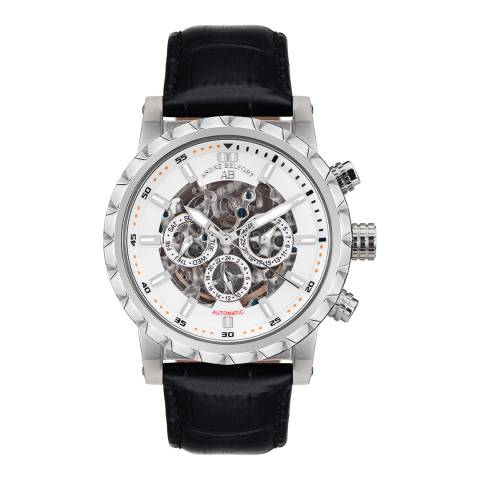 Andre Belfort Men's Silver/Black Conquete Leather Watch