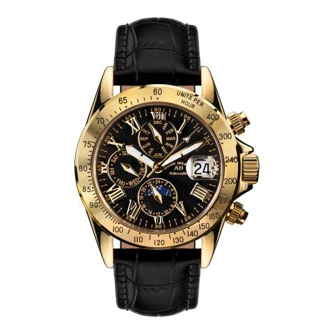 Andre Belfort Men's Black/Gold Le Capitaine Leather Watch