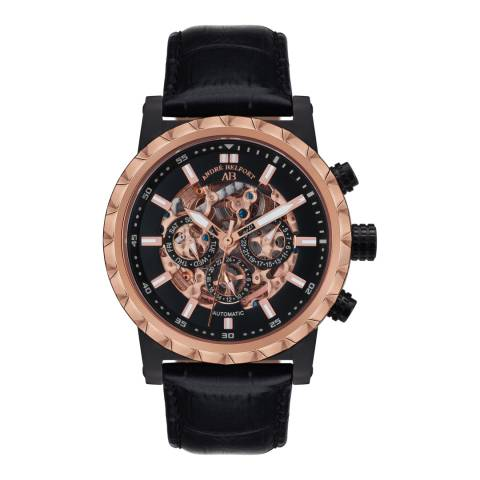 Andre Belfort Men's Rose Gold/Black Conquete Leather Watch