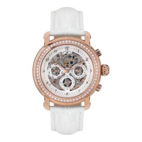 Andre Belfort Women's Rose Gold/White Intemporelle Leather Watch