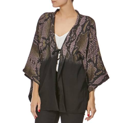 Bolongaro Trevor Black/Khaki Snake Print Kimono