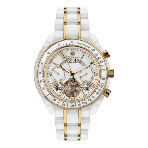 Mathis Montabon Ladies White/Gold Ceramic La Reve en Ceramique Chronograph Watch