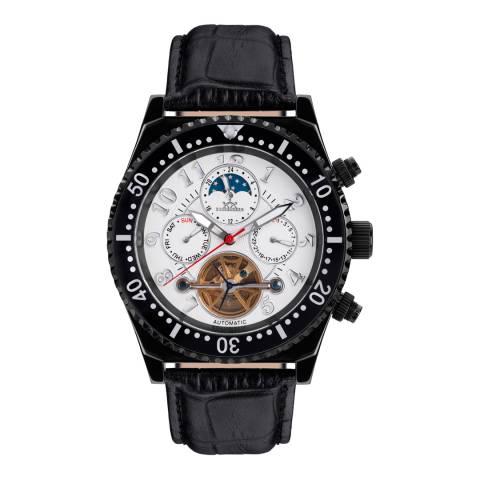 Hindenberg Men's Black/White Leather Skyraider Watch