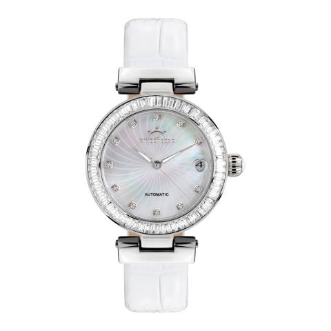 Hindenberg Women's White/Silver Grand Lady Gold Leather Watch