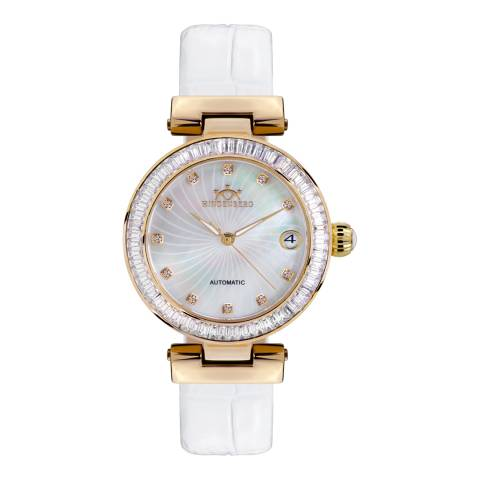 Hindenberg Women's White Grand Lady Gold Leather Watch