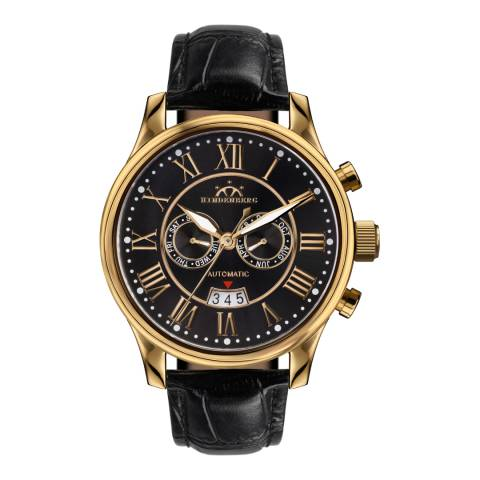 Hindenberg Men's Black/Gold  Leather Open Date Watch