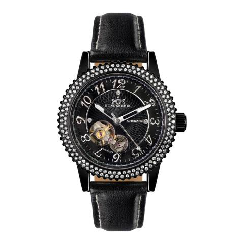 Hindenberg Women's Black Leather Professional Lady Watch