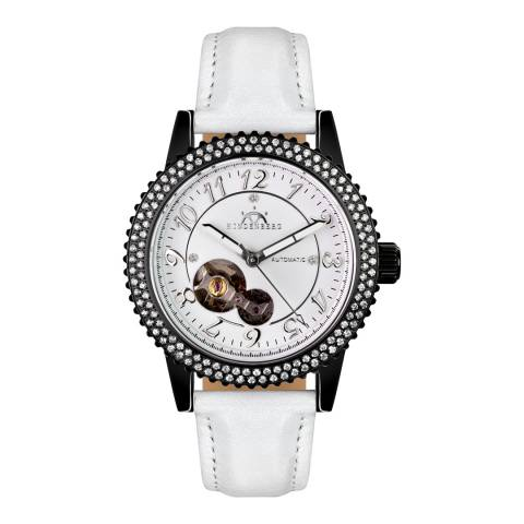 Hindenberg Women's White/Black Leather Professional Lady Watch