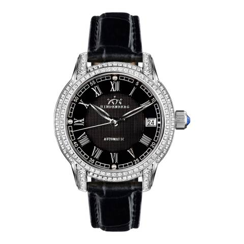 Hindenberg Women's Black Leather Duchess Crystal Watch