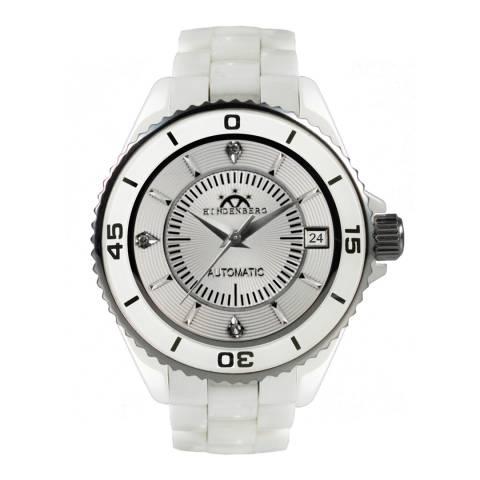 Hindenberg Women's White/Silver Ceramic Galaxy Watch