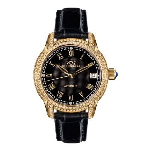 Hindenberg Women's Black/Gold Leather Duchess Watch
