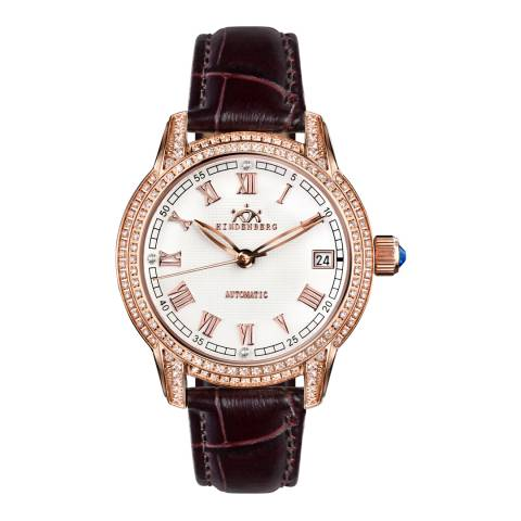 Hindenberg Women's Brown/Rose Gold Leather Duchess Watch