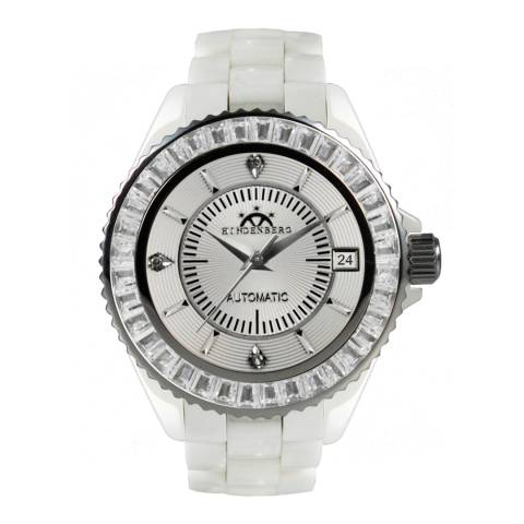Hindenberg Women's White/Silver Ceramic Galaxy Watch