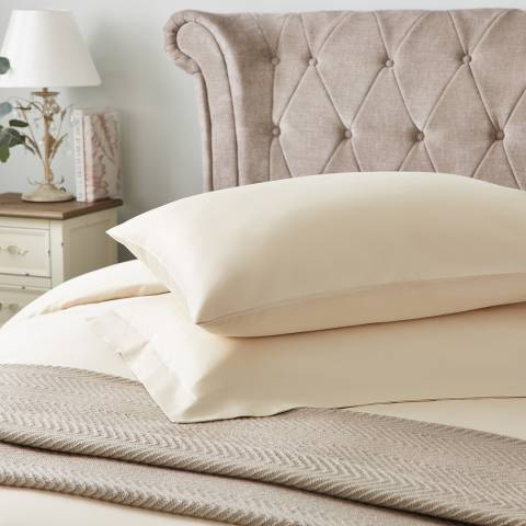 Hotel Living 600TC Pair of Housewife Pillowcases, Ivory
