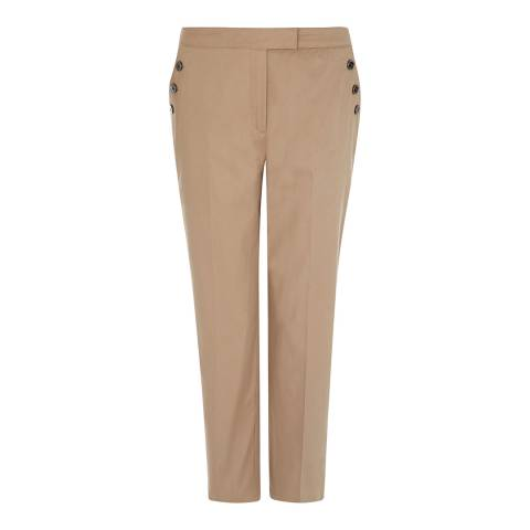 Jaeger Beige Button Pocket Cotton Blend Stretch Capri