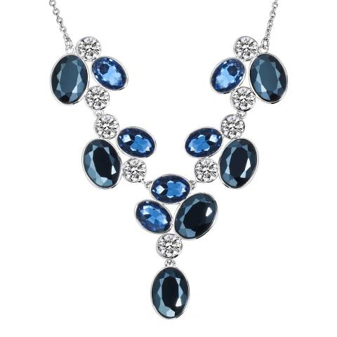 Saint Francis Crystals Blue/Silver Swarovski Crystal Elements Charm Necklace