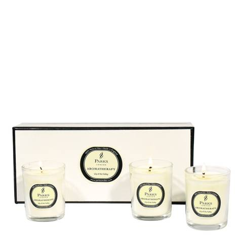 Parks London Set of Three Lily of the Valley Aromatherapy Candle Glass Tots