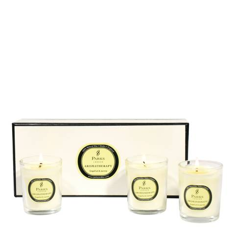 Parks London Set of Three Grapefruit/Jasmine Aromatherapy Candle Glass Tots