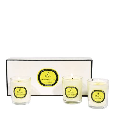 Parks London Set of Three Lemongrass/Mint Aromatherapy Candle Glass Tots