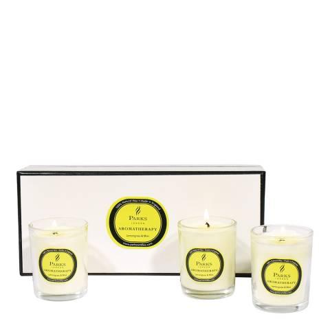 Parks London Set of Three Lemongrass/Mint Aromatherapy Candle Glass Tots