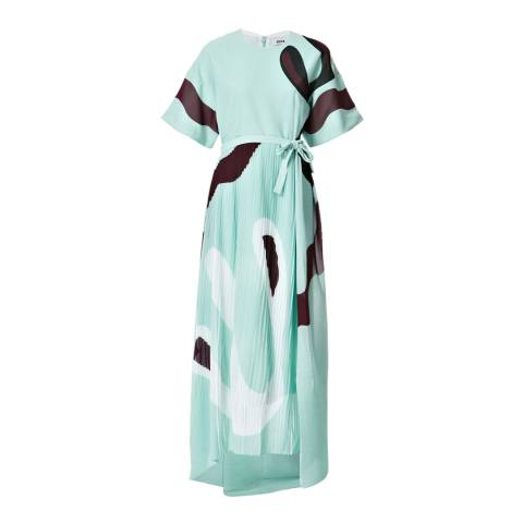 ISSA Light Blue/Burgundy Gabriella Print Midi Dress