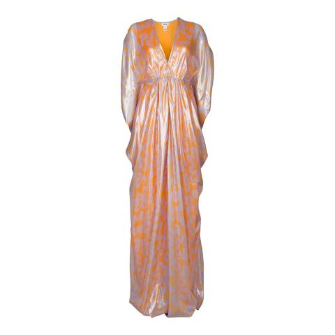 ISSA Pink/Orange Goddess Silk Maxi Dress