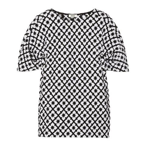 ISSA Black/White Kathleen Check Jacquard Top