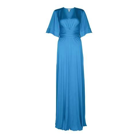 ISSA Azure Blue Lyndsey Silk Maxi Dress