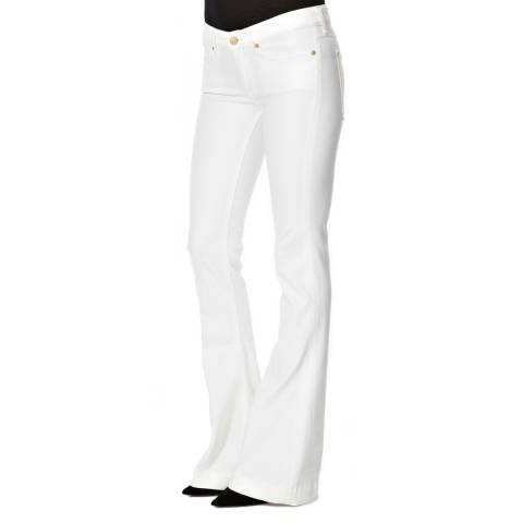 7 For All Mankind White Jiselle Regular Rise Flare Jeans