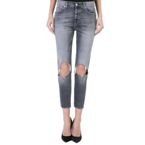 7 For All Mankind Women's Faded Grey Josie Boyfriend Stretch Jeans