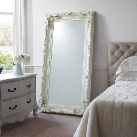 Cream Carved Louis Leaner Mirror 175x89cm by Gallery