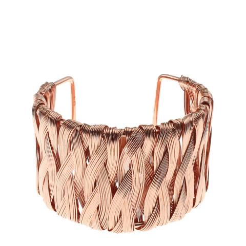 Chloe Collection by Liv Oliver Rose Gold Basket Weave Cuff