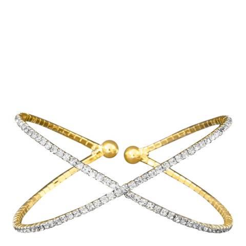 Liv Oliver Gold Crystal Crossed Bangle