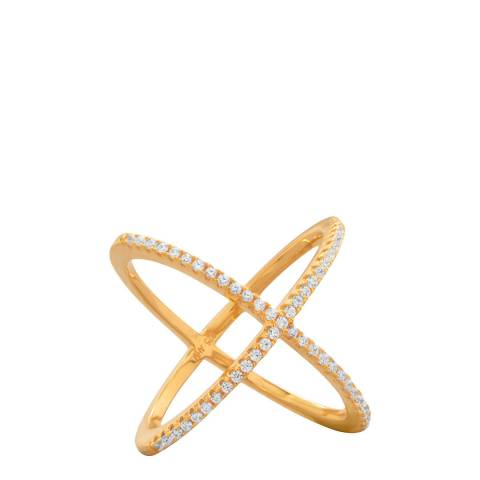 White label by Liv Oliver Gold Crystal Cross Over Ring