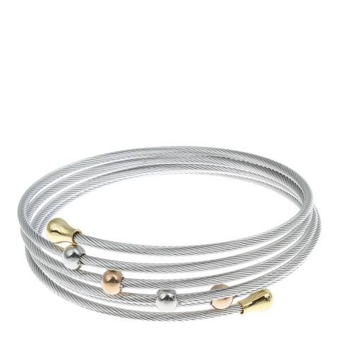 Chloe Collection by Liv Oliver Silver Tri-Colour Wrap Bracelet