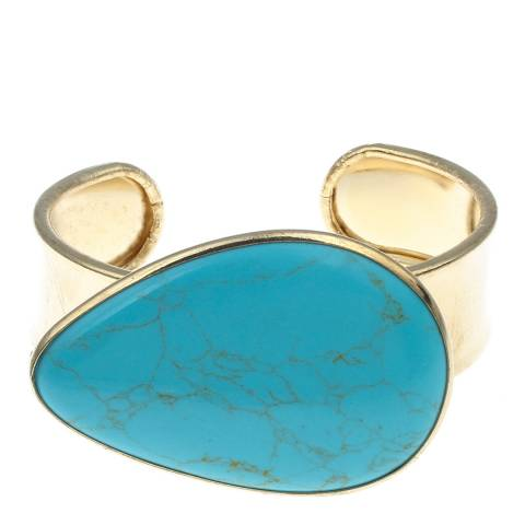 Liv Oliver Gold/Turquoise Large Pear Cuff