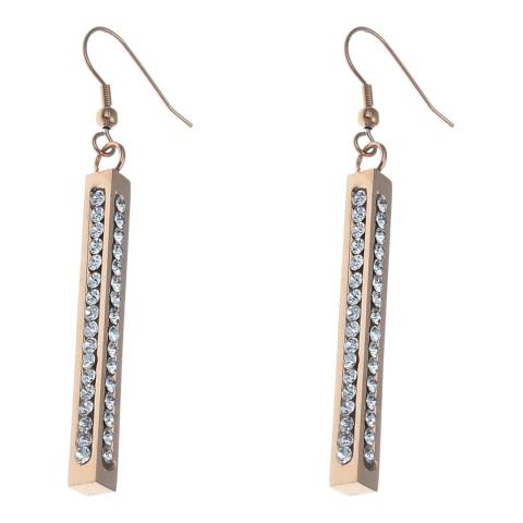Liv Oliver Rose Gold Multi Sided Crystal Drop Earrings