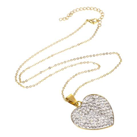 Black Label by Liv Oliver Gold Crystal Heart Necklace