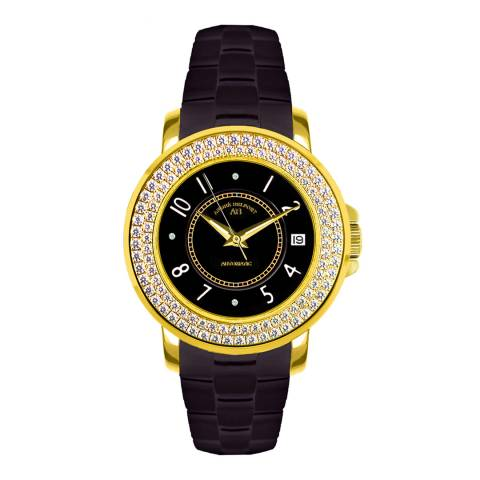 Andre Belfort Ladies Black/Gold Aphrodite Zirconia No.2 Watch