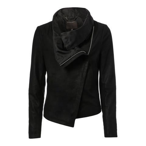 Muubaa Black Sinoia Drape Front Leather Jacket