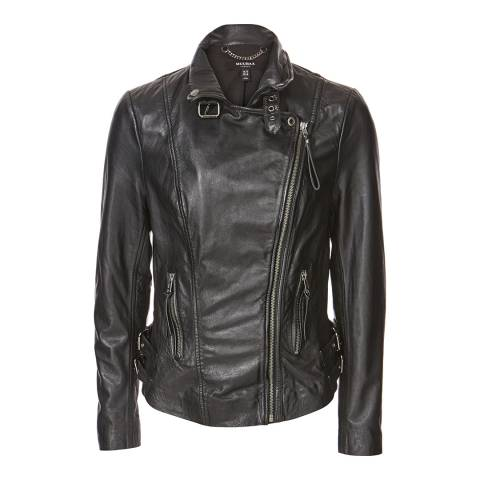 Muubaa Black Reval Leather Biker Jacket