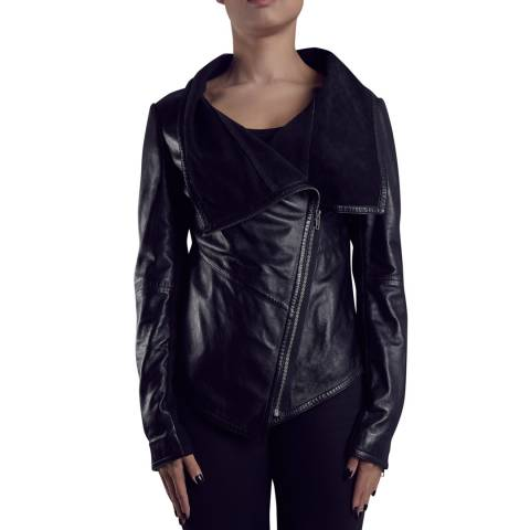 Muubaa Black Sabina Drape Leather Jacket
