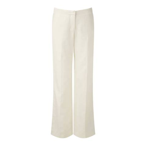 Pure Collection Ivory Cotton Linen Wide Leg Trousers