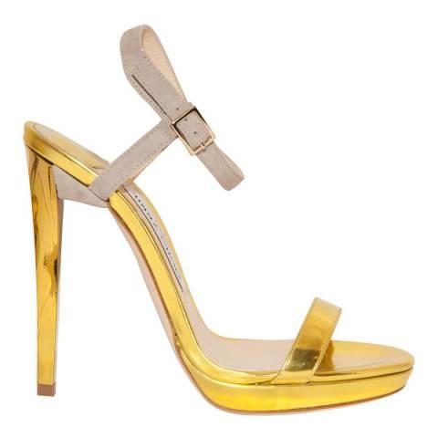Jimmy Choo Gold Patent Leather Claudette Stiletto Heel 12cm