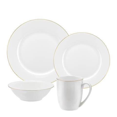 Royal Worcester 16 Piece White Gold Serendipity Fine Bone China Dinnerware Set