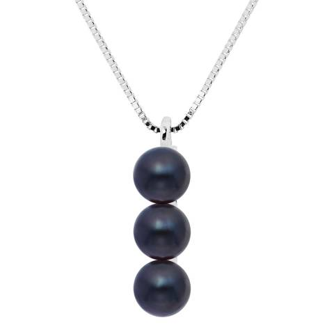 Perlinea Pearls Black Triple Drop Tahitian Pearl Pendant Necklace