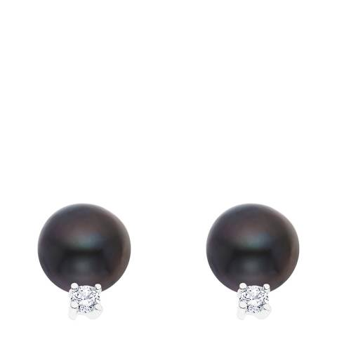 Just Pearl Black Tahitian Pearl and Crystal Stud Earrings