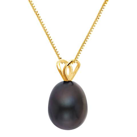 Just Pearl Black/Gold Tahitian Pearl Pendant Necklace
