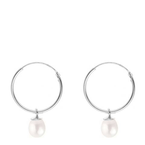 Just Pearl Silver/White Freshwater Pearl Creole Hoop Earrings 7-8mm
