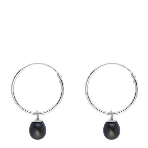 Just Pearl Silver/Black Tahitian Pearl Creole Hoop Earrings